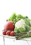 Blumenkohl, Kürbis, Tomate und Spargel Lizenzfreie Stockfotos
