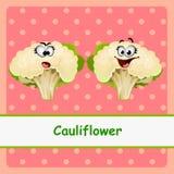 Blumenkohl, lustige Charaktere auf rosa Hintergrund lizenzfreie abbildung