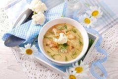 Blumenkohlsahnesuppe mit Hühner- und Parmesankäseparmesankäse Lizenzfreies Stockbild