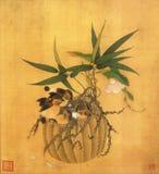 Blumenkorb und Blumenkunst lizenzfreie stockbilder