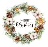 Blumenkranz der Aquarell-frohen Weihnachten Handgemalte Tannengrenze mit Kegeln, Baumwolle, orange Scheiben, Glocken, Zimt stock abbildung
