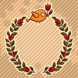 Blumenkranz des netten kleinen Vogels Stockbild