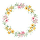 Blumenkranz mit den Aquarell-gelben und rosa Blumen lizenzfreie abbildung