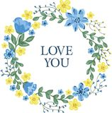 Blumenkranz mit den blauen und gelben Blumen Lizenzfreie Stockbilder