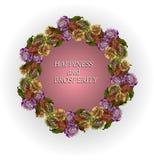 Blumenkranz mit Rosen Wünsche des Glückes Lizenzfreies Stockbild