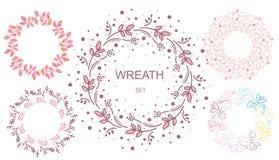Blumenkranz Satz nette Retro- Blumen vereinbarte UNO eine Form des Kranzes, der f?r Heiratseinladungen und Gl?ckwunschkarten perf vektor abbildung
