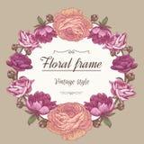 Blumenkranz von verschiedenen Blumen in der Weinleseart Stockfoto