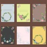 Blumenkranzkarten-Dekorationsvektor Stockbilder