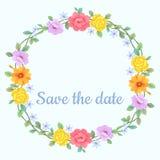 Blumenkranzvektordesign-Einladungskarte lizenzfreie abbildung