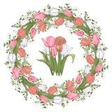 Blumenkreisrahmen mit Tulpen lizenzfreie abbildung