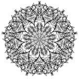 Blumenkreisverzierung, Schwarzweiss-Zeichnung, Gekritzelfarbton lizenzfreie abbildung