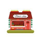 Blumenladen in der flachen Art Infographic Elemente Vermarkten Sie Ikone mit den Schaukasten, die auf weißem Hintergrund lokalisi Lizenzfreies Stockbild