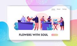Blumenladen-Material-Interessieren von Anlagen in den Töpfen, Entwurfs-Zusammensetzungen und Blumen-Blumensträuße für Kunden mach lizenzfreie abbildung
