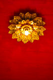 Blumenlicht an der Spitze des roten Dachs Stockbild