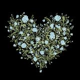 Blumenliebesblumenstrauß für Ihr Design, Herzform Stockbild