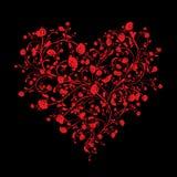 Blumenliebesblumenstrauß für Ihr Design, Herzform Stockfoto