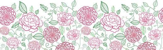 Blumenlinie horizontales nahtloses Muster der Kunst Stockfotografie