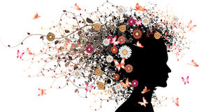 Blumenmädchenschattenbild Stockfotografie