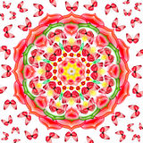 BlumenMandala mit roten Basisrecheneinheiten stock abbildung