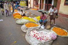 Blumenmarkt, Kolkata, Indien Lizenzfreies Stockfoto