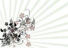 Blumenmotiv auf Streifen stock abbildung
