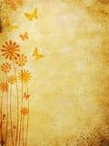 Blumenmuster über altem Wandhintergrund Stockbilder