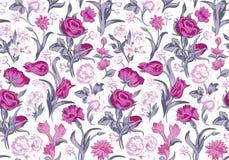 Blumenmuster der hellen romantischen nahtlosen Vektorweinlese. Lizenzfreies Stockfoto