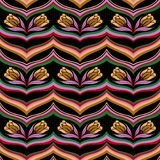 Blumenmuster der nahtlosen bunten Zusammenfassungswelle stock abbildung