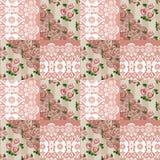 Blumenmuster der nahtlosen Spitzes des Patchworks Stockfotos
