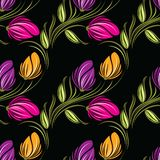Blumenmuster der nahtlosen Tulpe vektor abbildung