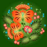 Blumenmuster in der nationalen Ukrainer Petrikovka-Art Stockbild