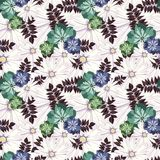 Blumenmuster der schönen Weinlese Nahtloses Muster Blumen Helle Knospen, Blätter, Blumen Blumen für Grußkarten, Poster Lizenzfreie Stockbilder