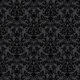 Blumenmuster der schwarzen Damastweinlese Stockbild