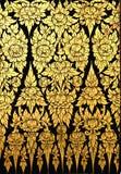 Blumenmuster in der traditionellen siamesischen Artkunst Stockbilder