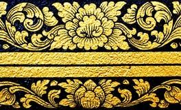 Blumenmuster in der traditionellen thailändischen Art Stockfotografie