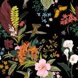 Blumenmuster der vektornahtlosen Weinlese Exotische Blumen und Vögel stock abbildung