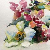 Blumenmuster des abstrakten Hintergrundes des Aquarells blüht Dekorationshandschönes wallpape der nassen Wäsche der Orchideengart Stockbilder