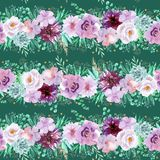 Blumenmuster des nahtlosen Aquarells in den tadellosen grünen und hellpurpurnen violetten Farben auf dunkelgrüner Anmerkung zum H vektor abbildung