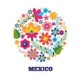 Blumenmuster in einem mexikanischen ethnischen Motiv des Kreises Lizenzfreie Stockfotos