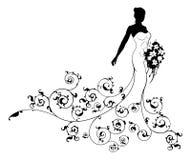 Blumenmuster-Hochzeits-Braut-Schattenbild Stockfotografie