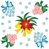 Blumenmuster. Kleine Blumensträuße mit Bögen. Lizenzfreies Stockbild