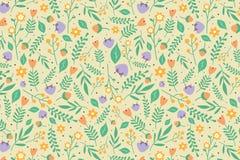 Blumenmuster mit den orange und hellpurpurnen Blumen Stockfotos