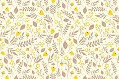 Blumenmuster mit gelben Blumen Stockfotos