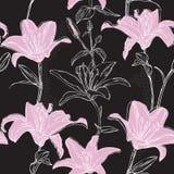 Blumenmuster mit Lilie Stockfoto
