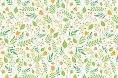 Blumenmuster mit orange Blumen und Beeren Lizenzfreies Stockfoto