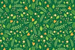 Blumenmuster mit orange Blumen und roten Beeren Stockbild