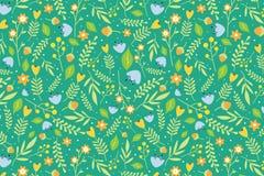 Blumenmuster mit Orangen- und Himmelblau blüht Stockbild