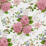 Blumenmuster mit rosa Rosen Stockfotos