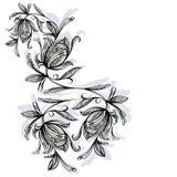 Blumenmuster, Rose Schwarzweiss Stockfotografie