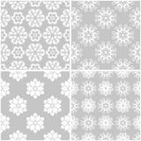 Blumenmuster Satz graue und weiße nahtlose Hintergründe Stockfoto